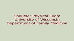 FULL Shoulder Exam by University of Winsconsin