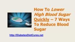 Lower High Blood Sugar