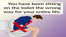 Sitting on the toilet correctly